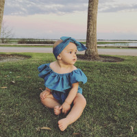 Off Shoulder Baby Girl Bodysuit with a matching headband
