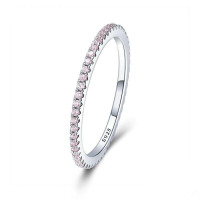 Sterling Silver Pink Crystal Wedding Female Rings
