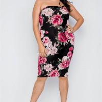 2-way Wear: Plus Size Floral Print Tube Midi Dress - Long Skirt