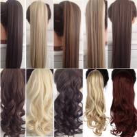 """23"""" Long Curly & Straight Clip-In Ponytail Extensions, Synthetic Hair Pony Tail"""