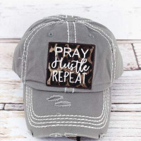 ' Pray Hustle Repeat' Distressed Gray with Leopard Baseball Cap