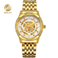 BINLUN Men's 18K Gold Skeleton Hollow Mechanical Watch Diamond Dial Gold Case Classic Automatic Men's Gold Skeleton Wristwatch