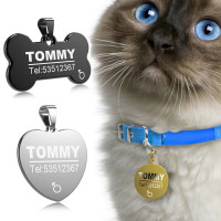 FLOWGOGO Stainless Steel Pet ID Tag Engraved for Cats and Dogs