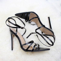 Pointed Toe Strap Up High Heels