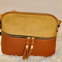 Camel & Cognac Tassel Color BlocK VEGAN Crossbody Bag - Ashley Nicole