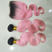 Exotic pink body wave + lace closure