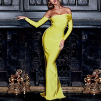 2019 New Arrival Sexy Women Bandage Dress Long Sleeve Yellow Draped Off Shoulder Long Maxi Celebrity Evening Party Dresses
