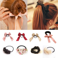 1pcs Women Tiara Satin Ribbon Bow Hair Band Rope Scrunchie Ponytail Holder Gum for Hair Accessories Pearl Elastic Rubber Bands - The bad man