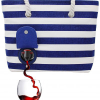 Beach Wine Tote Beach Bag with Hidden, Insulated Compartment(4 colors)