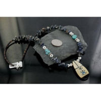 FAST SHIPPING!!! Inlaid Certified Authentic Navajo .925 Sterling Silver Lapis Turquoise Native American Necklace