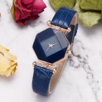 Gem Cut Geometry Crystal Leather Watch Ladies