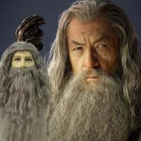 Halloween Mens Magic potter Albus Dumbledore cosplay wig Hobbit wizard Gandalf grey hair wig and beard  role play costumes