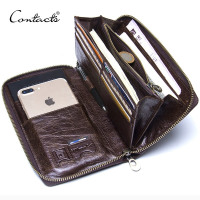 "Genuine Leather Men Clutch Wallet  Brand Male Card Holder Long  Zipper Around Travel Purse With Passport Holder 6.5"" Phone Case"