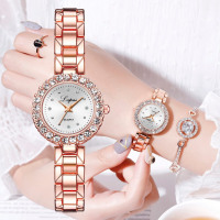 2pc/set Luxury Watches Rose Gold Diamond