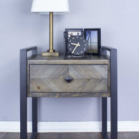 """23.5"""" Brown Metal, Wood, and MDF End Table with a Drawer"""