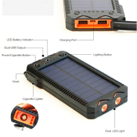 Portable Solar Power Bank 20000mah solar battery charger with cigarette lighter dual lights for Mobile Phones outdoor camping