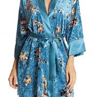 Women's Turquoise Visonary Velvet Print Short Robe w/Satin Trim by In-bloom by Jonquil