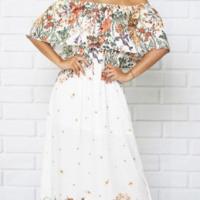 Floral Printed White Off Shoulder Maxi Dress