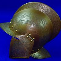 Antique 19 Cent Spanish Spain Italy Italian Engraved Victorian Medieval Helmet