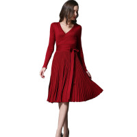 Fashion Women Pleated Long Sleeve Casual Bow Tie Sashes V Neck Elegant Evening Party Vestidos