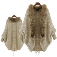 Fashion Women Faux Fur Sweater Loose Knitted Winter Batwing Cardigan - Toplen