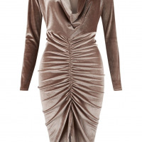 Ladies Crushed Velvet Cowl Neck Long Front Ruched Midi Dress - Toplen