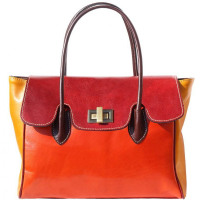 Colorful Leather Handbag with Double Handles