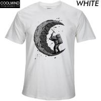 100% Cotton Digging The Moon Print Casual Mens O-Neck T-shirts Fashion Men's Tops