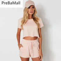 2019 Fashion 2 Piece Set Women Crop Tops Summer Short Sleeve Ladies Crop Tops and Shorts Outfit Set Casaul Suits C117